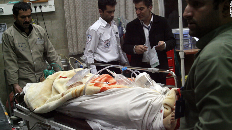A survivor of an Iran Air Boeing 727 crash lies in a hospital on January 10, 2011. The plane went down a day earlier near the city of Orumiyeh, killing 77 of 105 passengers and crew members.