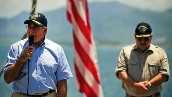 Leon Panetta speaks to the crew of the USNS Richard E. Byrd docked at Vietnam's Cam Ranh Bay on Sunday.
