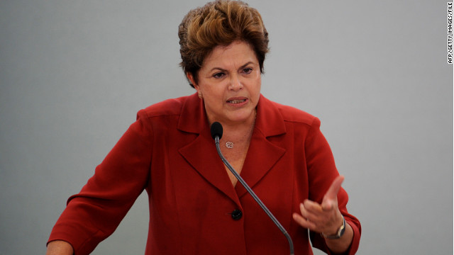 Brazillian Predient Dilma Rousseff speaks during the ODM Brasil Award ceremony in May.