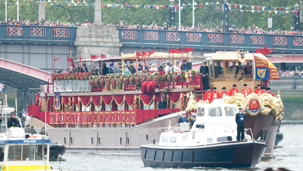 "The royal barge, ""Spirit of Chartwell"", carrying the Queen and senior members of the Royal family. The boat is privately owned and was donated to the event by its owner Philip Morrell and given the royal design treatment by award-winning production designer Joseph Bennett."