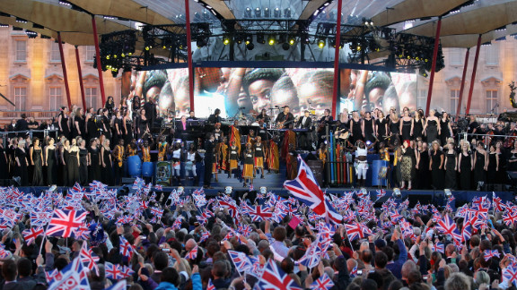 Gary Barlow and the Commonwealth band perform a song specially written for the event.