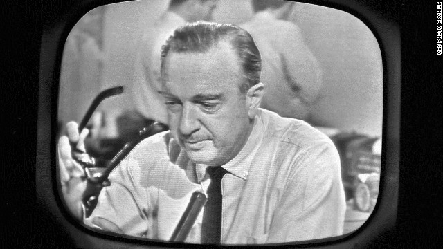 Cronkite, in a moment of undisguised emotion, having just announced the death of President John F. Kennedy on November 22, 1963.