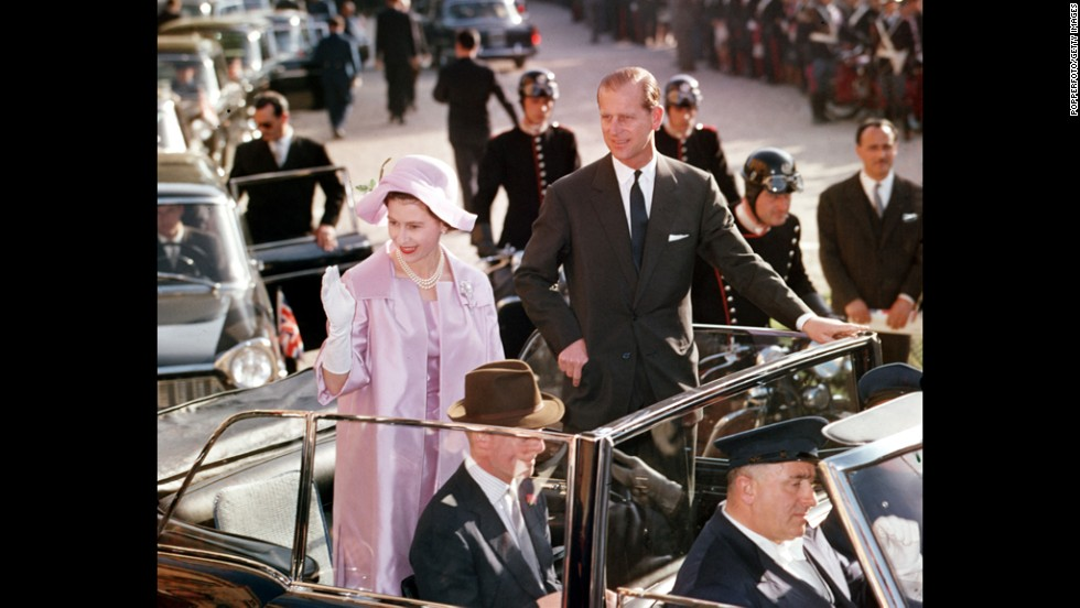 Queen Elizabeth II and Prince Philip tour the streets of Rome in 1961.