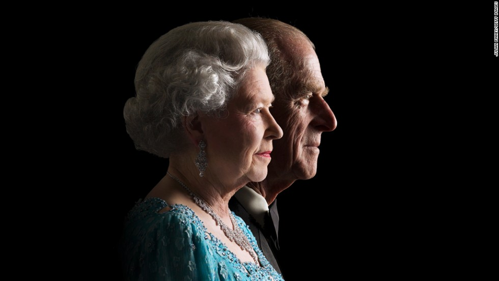 The Queen and Prince Philip pose for a photo to commemorate her Golden Jubilee in 2002.