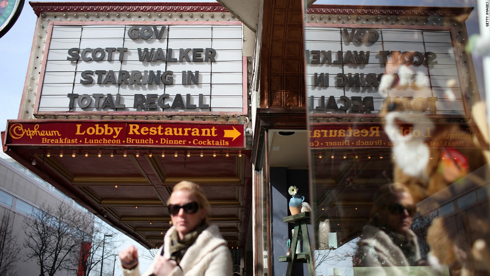 "The marquee at the Orpheum Theatre in Madison, Wisconsin, mocks Walker with ""Total Recall"" movie reference on March 11, 2011."
