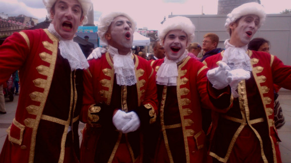 """kasialondon stumbled upon court jesters entertaining at London's iconic Trafalgar Square in celebration of the queen's Diamond Jubilee. """"The jesters were joking, laughing and making merriment for people,"""" she says. """"It was a lot of fun."""""""