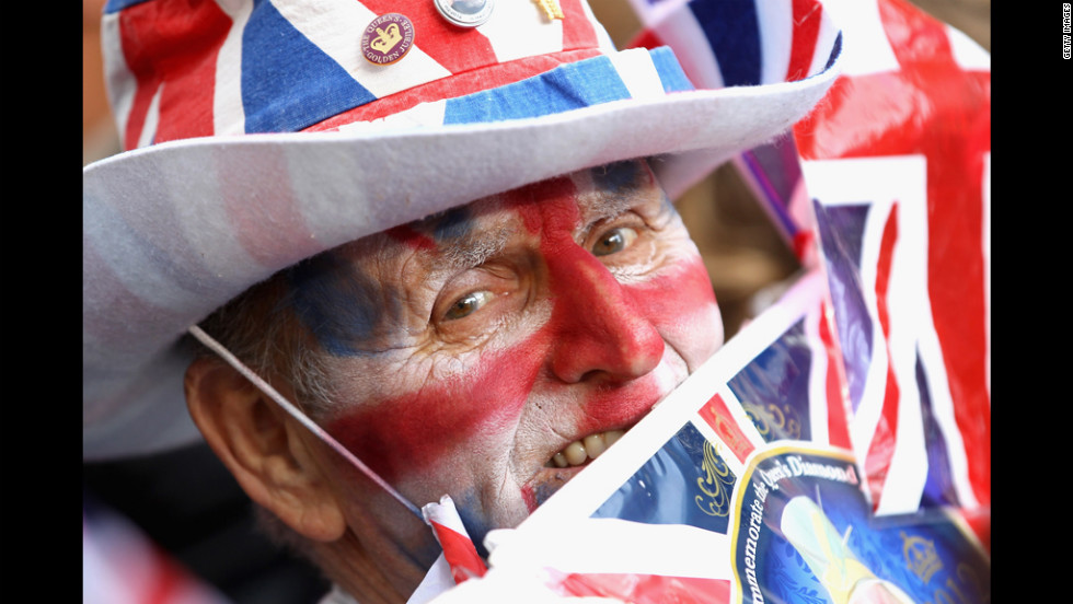 A man decked out in full Union Jack regailia celebrates the Diamond Jubilee.