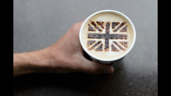 A coffee shop created a chocolate Union Jack to top this cappuccino.