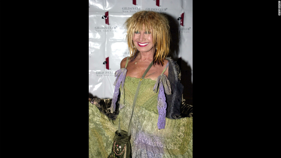 Breast cancer survivor Betsey Johnson at the Gilda's Club Comedy Gala in 2002. Gilda's Club helps breast cancer patients live with the disease.