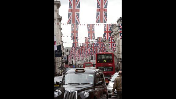 Union Jacks line a street in preparation for the Diamon Jubilee.