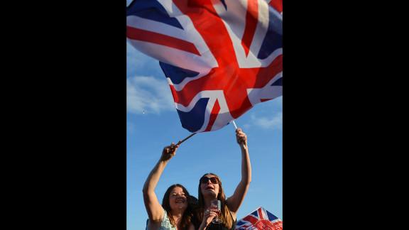 Spectators wave Britain