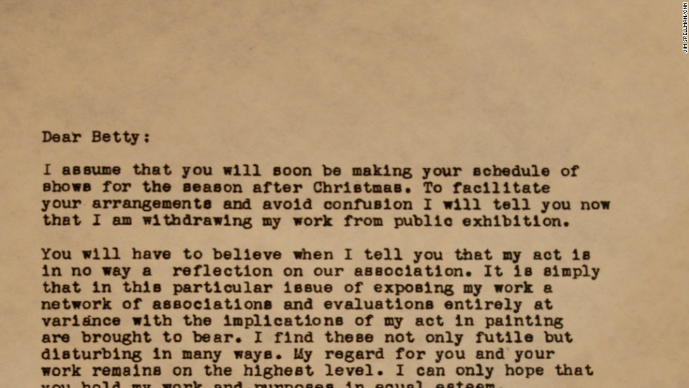 Still wrote this letter to his agent, Betty Parsons, explaining why he was withdrawing from the commercial art scene.