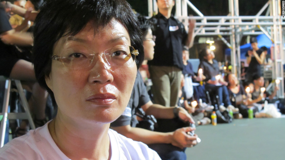 "Ms. Chan Shu-ying says she still has a deep impression of attending a protest in 1989 against the crackdown alongside thousands of Hong Kongers in Happy Valley.  Now 53, Chan says, ""Coming here every year will fulfill my dream of June 4 being redressed and the democratization of China's political system."""
