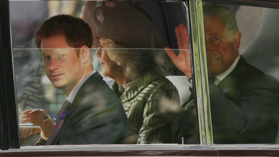Prince Harry, Camilla, Duchess of Cornwall and Prince Charles, Prince of Wales, drive to St. Paul