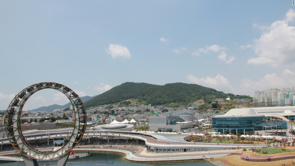 "Korean architecture firm Samoo also designed 10 of the Expo's main buildings in Yeosu. The ""Big-O"" (left) is part of the nightly entertainment display."