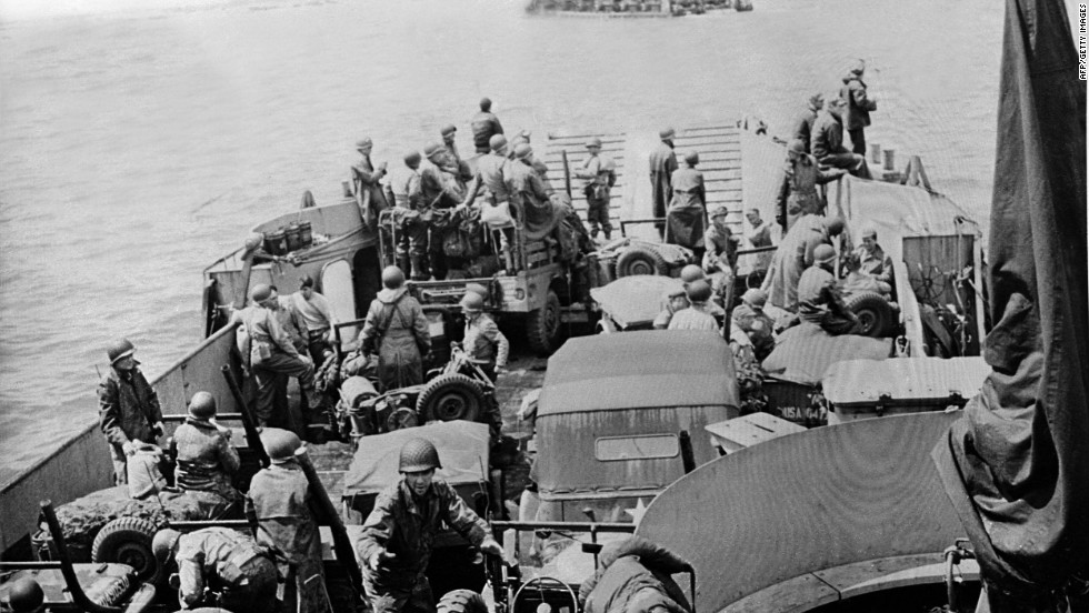US troops and vehicles are ready to disembark.