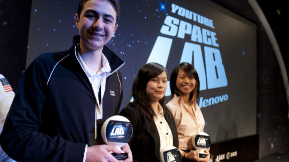 Mohamed pictured with the other winners of the Space Lab competition, Sara Ma and Dorothy Chen, from Troy, Michigan.