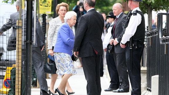 Queen Elizabeth II visits Prince Philip, Duke of Edinburgh in the King Edward VII hospital on June 6, 2012 in London, England.