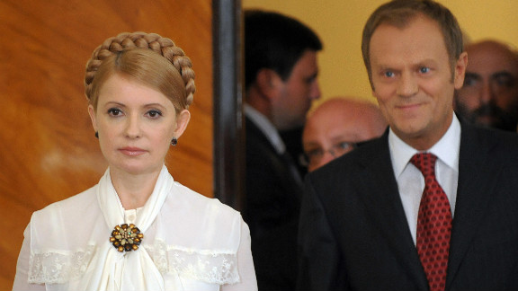 Yushchenko and Prime Minister Yulia Tymoshenko -- seen here with Polish counterpart Donald Tusk (R) -- had  come to power on the back of Ukraine