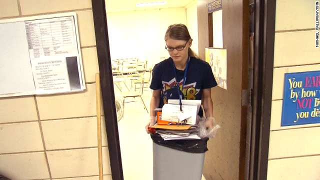 Dawn Loggins has worked as a janitor her senior year to make ends meet.