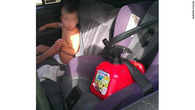 A mother was cited in Aurora, Colorado, after authorities found her toddler in a lap belt and a gas can in a child safety seat.