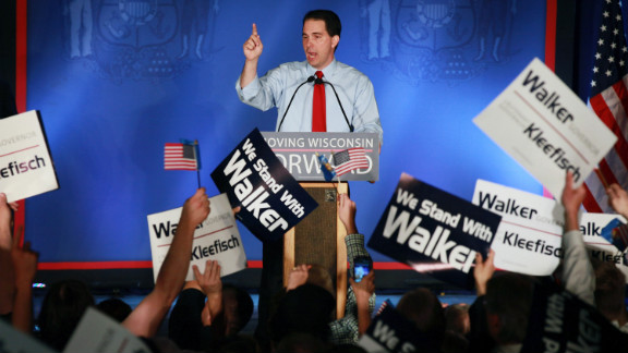 Wisconsin Gov. Scott Walker addresses supporters Tuesday night after winning the Wisconsin recall election, defeating Milwaukee Mayor Tom Barrett.