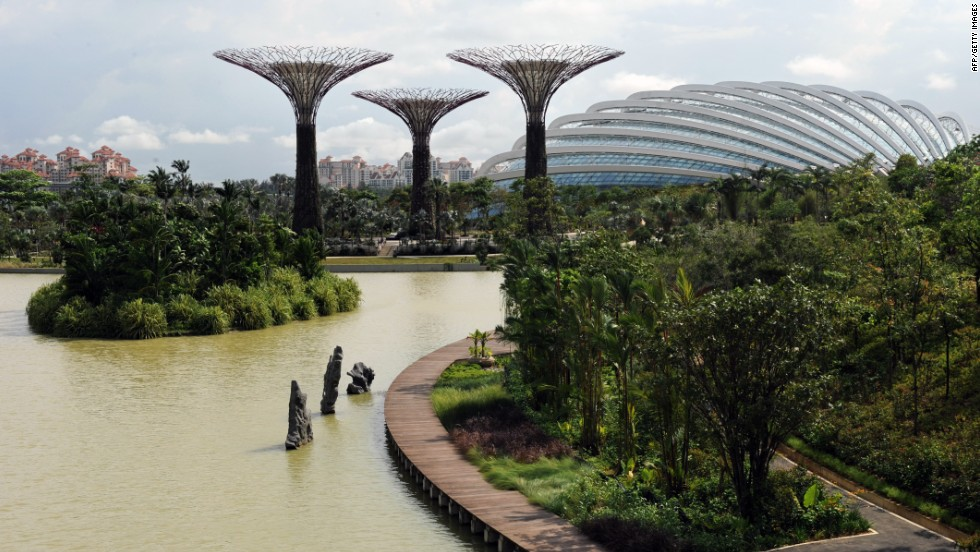 "In contrast to the dense urban environment of skyscrapers and high-rise buildings in Singapore, Gardens by the Bay is part of the government's overall strategy to transform Singapore into a ""city in a garden."""