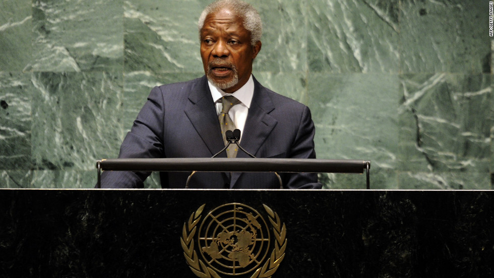Joint Special Envoy for Syria Kofi Annan addresses the UN General Assembly on the situation in Syria in June 2012 in New York.