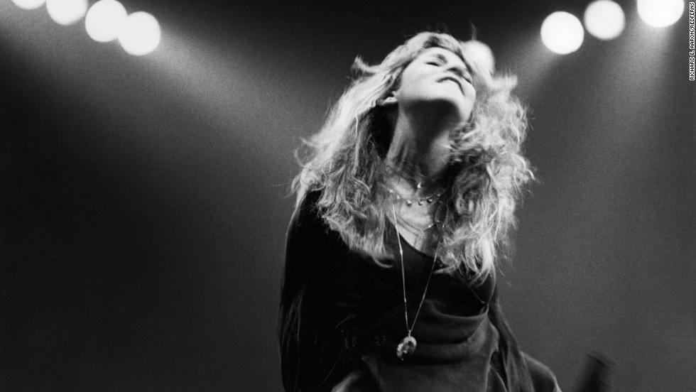 Singer/songwriter Stevie Nicks performs onstage. She joined Fleetwood Mac in 1974 with her then-boyfriend Lindsey Buckingham.