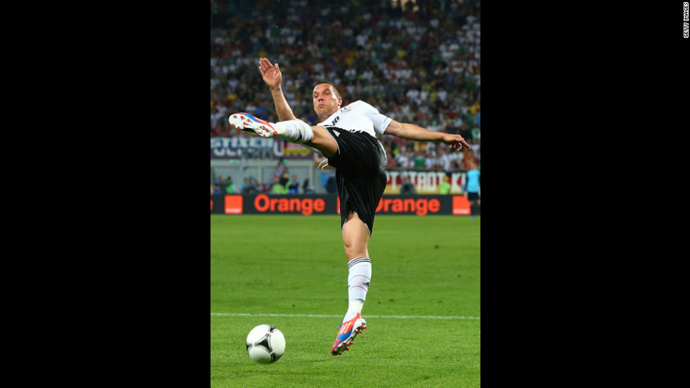 Lukas Podolski of Germany in action during the Germany-Portugal match.