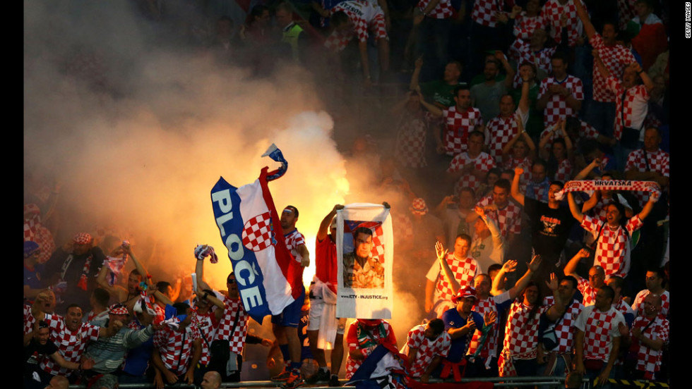 Croatia fans ignite flares during Sunday's match against Ireland.
