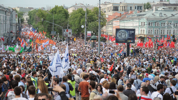 Tens of thousands of protesters rallied in Moscow and around Russia on June 12, 2012 against President Vladimir Putin