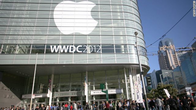 Attendees of Apple's Worldwide Developers Conference wait outside the Moscone Center in San Francisco on Monday.