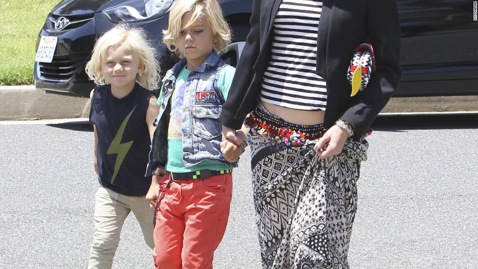 Gwen Stefani takes her sons to a party in Los Angeles.