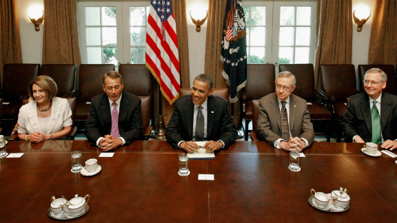 President Obama and Congressional leaders meet last July to strike a deal to raise the debt limit while controlling spending