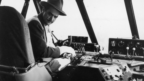 Hughes, pictured here in the plane's pilot seat, flew the H-4 during its only flight. On November 2, 1947, off California's Long Beach harbor, the seaplane became airborne for about a mile and reached an altitude of about 70 feet. Saying it needed more development, Hughes stored it in a hangar and never let it fly again.