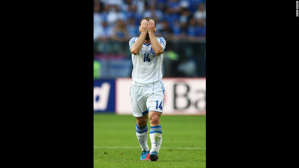 Greece's Dimitris Salpigidis reacts during Tuesday's match. His team went on to lose 2-1 to the Czech Republic.