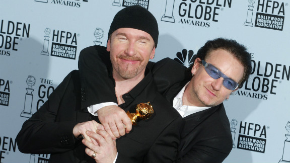 U2's The Edge and Bono at the Golden Globe awards in 2003 when Bono famously dropped the F-bomb on air.