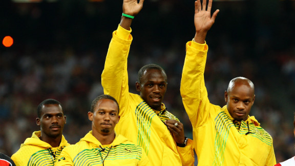 Bolt completed a gold medal treble as Jamaica