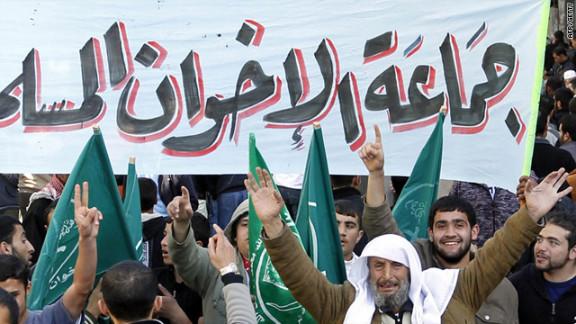 Members of the Muslim Brotherhood movement shout slogans in Amman, Jordan.