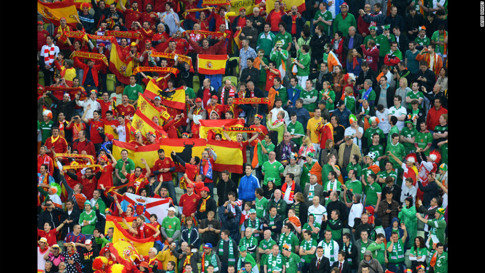 Fans make their voices heard during the Group C match between Spain and Ireland.