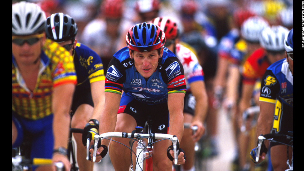 Armstrong rides at the Ikon Ride for the Roses to benefit the Lance Armstrong Foundation in May 1998. He established the foundation to benefit cancer research after he was diagnosed with testicular cancer in 1996. After treatment, he was declared cancer-free in February 1997.