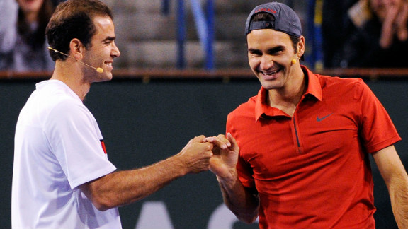 The year before, Sampras played an exhibition with Roger Federer, who has a record 16 grand slams but is still one short of the American's Wimbledon tally.
