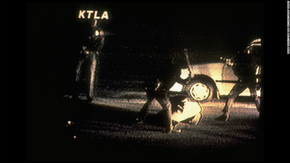 A frame from the video made by George Holliday from his balcony shows Los Angeles police officers beating King after he was stopped for a traffic violation on March 3, 1991. The video shows King being struck by police batons more than 50 times. More than 20 officers were present at the scene, most from the LAPD. King suffered 11 fractures and other injuries in the beating.