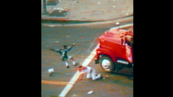 A news helicopter captures video of the beating of Reginald Denny, a white truck driver, after he was pulled from his vehicle. Gov. Pete Wilson declares a state of emergency and calls in National Guard troops.