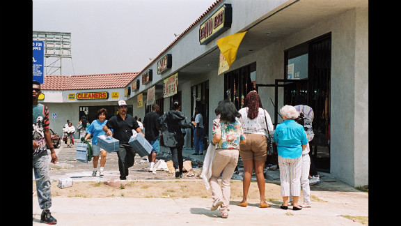 Looters target a shopping center in Los Angeles on April 30.