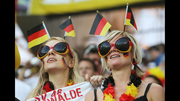 Fans of Germany dress up for the match against Denmark.