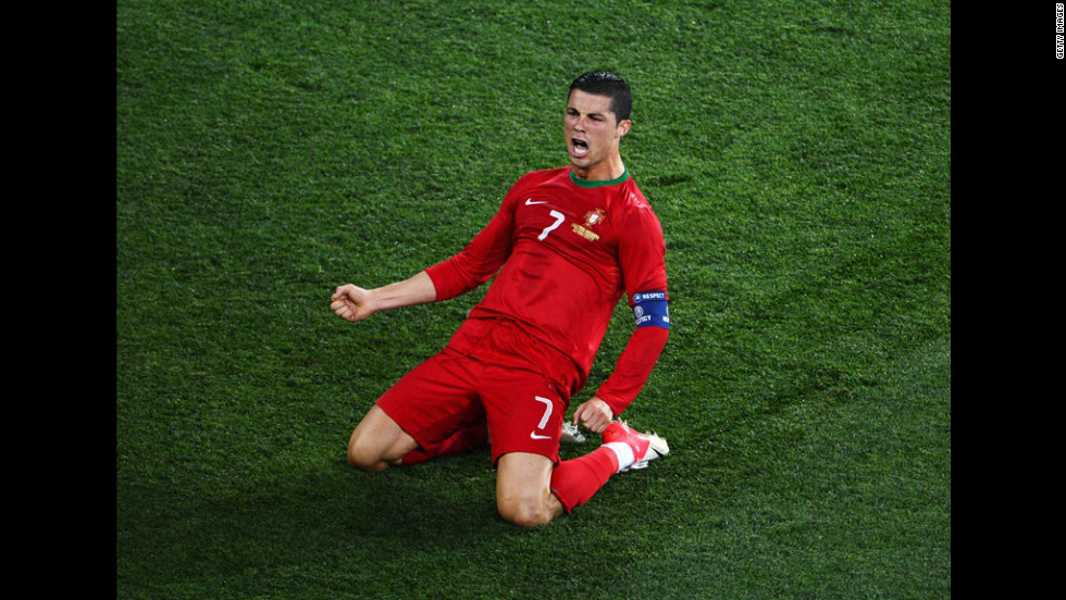 Cristiano Ronaldo of Portugal reacts to his goal against  the Netherlands.
