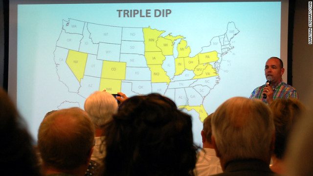 "FreedomWorks' Russ Walker walked activists through a map of states that are part of the ""triple dip"" strategy in 2012."