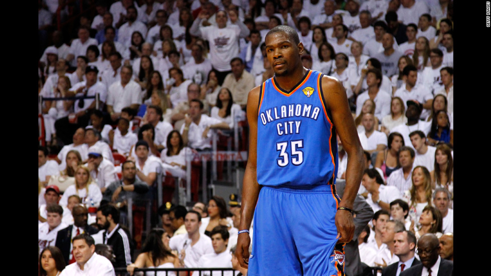 Kevin Durant of the Oklahoma City Thunder looks on in the first half.